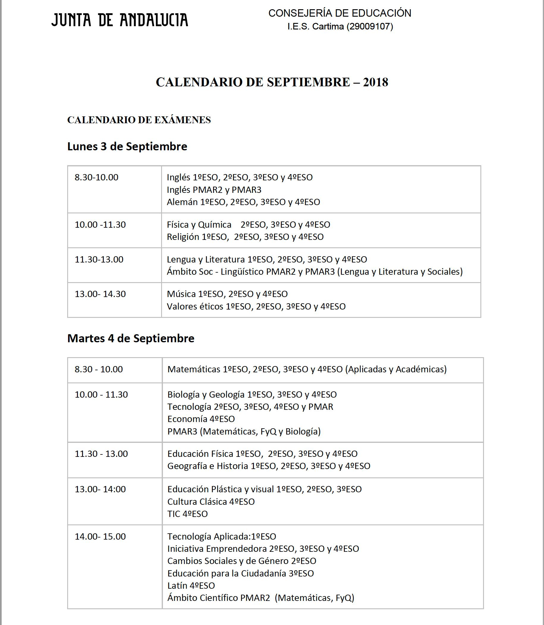 Calendario De Septiembre.Calendario De Septiembre 2018 Proyecto Cartama